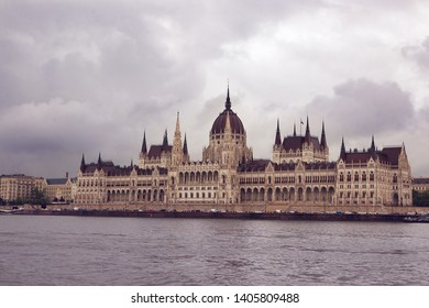 Budapest, Hungary. May, 2019. The building of the Hungarian Parliament. The symbol and business card of the city, located on the banks of the Danube. Spring. Tourism and travel.