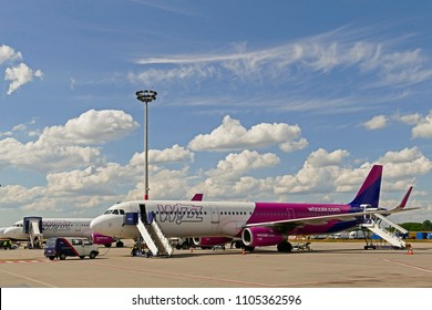 Budapest, Hungary - May 21. 2018: Wizzair flight in the airport waiting for take off