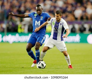 BUDAPEST, HUNGARY - MAY 23, 2018: (l-r) Ulysse Diallo competes for the ball with Bojan Sankovic during Puskas Akademia FC and Ujpest FC match at Groupama Arena.