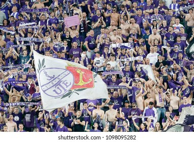 BUDAPEST, HUNGARY - MAY 23, 2018: Ultra fans celebrate the victory during Puskas Akademia FC and Ujpest FC match at Groupama Arena.