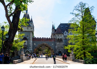 Budapest, Hungary May 23 2018. The famous tourist attraction Vajdahunyad Castle, this is a replica only and currently houses museums.