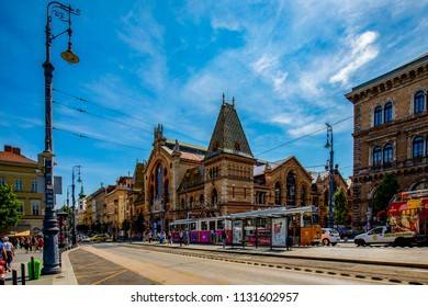 Budapest Hungary - May 24, 2018:  The Grand Market Hall. Great Market Hall is the largest indoor market in Budapest, it was built in 1896 still in full glory.
