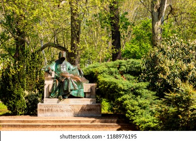 Budapest, Hungary - May 25, 2018: Statue of Anonymous the  Notary of King Bela in the Vajdahunyad Castle,  is part of UNESCO world heritage site and popular tourist attraction.
