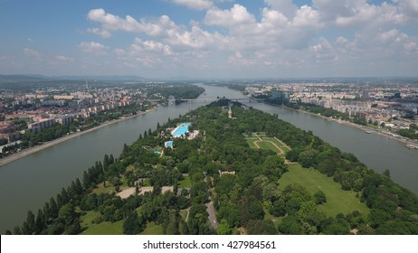 Budapest, Hungary - May 26, 2016: aerial footage from a drone shows the river Danube and Margaret Island in Budapest.