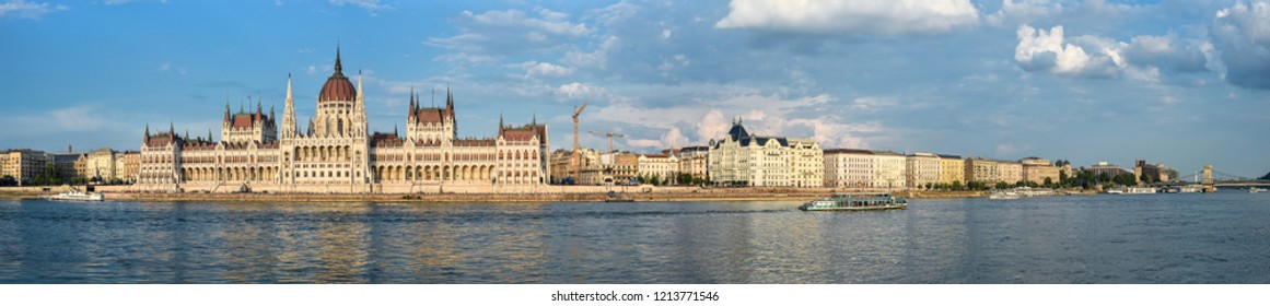 Budapest, Hungary - May 26, 2018: Panorama Parliament building and river Danube in Budapest, Hungary