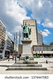 Budapest, Hungary - May 26, 2018: Statue of Baron Eotvos Jozsef in Budapest old town, Hungary