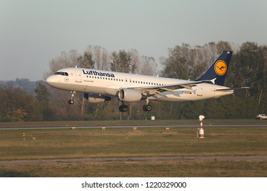 BUDAPEST, HUNGARY - MAY 27, 2015: Lufthansa A320 landing at Budapest Liszt Ferenc. Lufthansa is the largest airline of Europe