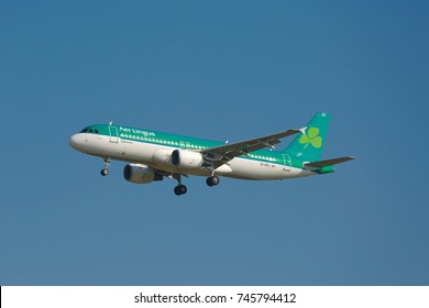 BUDAPEST, HUNGARY - MAY 27, 2015: Airliner of AerLingus approaching Budapest Liszt Ferenc Airport. AerLingus is Ireland's largest airline.
