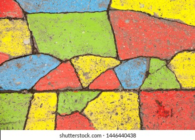 Budapest, Hungary - May 27, 2019: decorated asphalt in different colors