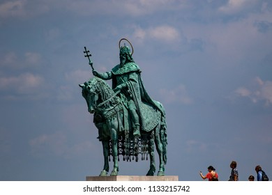 Budapest Hungary May 28 2018:  View of St. Stephen Statue and Matthias Church at Fishermen's Bastion, is one of the most-visited attractions