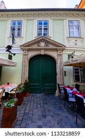 Budapest Hungary May 28 2018:  Restaurant on the street. Details in the Castle District. It is listed by UNESCO as a World Heritage site.