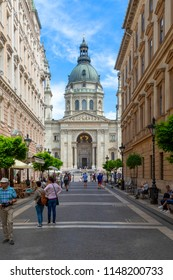 Budapest Hungary - May 28 2018: Exterior of St. Stephen's Basilica from the Zrinyi St. in Budapest, Hungary. The Basilica is named in honor of Stephen - first King of Hungary.
