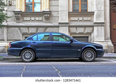 BUDAPEST, HUNGARY - MAY 28: Classic Jaguar X-Type in the street of Budapest on May 28, 2016.
