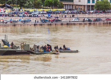 BUDAPEST, HUNGARY - MAY 30, 2019: Rescue operation on the Danube River near the Margit bridge after the tragedy of May 29 in Budapest, Hungary. Two ships collided on the river.