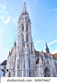 BUDAPEST, HUNGARY. May 8, 2014:  The Matthias Church, one of the famous attractions in Hungary. It is located in the area of Hungary Castle which also near Fisherman's Bastion.