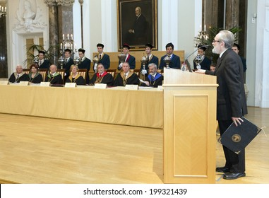 BUDAPEST, HUNGARY - MAY 9: Dr. Paolo Aureliano Becchi, professor of university of Genoa on the ceremony of the Pazmany Days after honored professor honoris causa on the ELTE Uni. on May 9, 2014