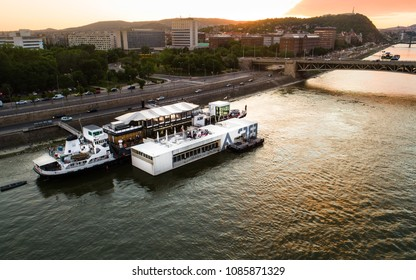 Budapest, Hungary - may.07, 2018: A38 Concert Ship, a party boat on the Danube in, in a beautiful sunset. Budapest, Hungary.