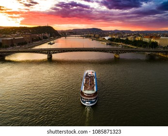 Budapest, Hungary - may.07, 2018: Europa Ship, a part  boat on the Danube in a beautiful sunset. Budapest, Hungary.