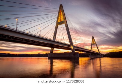 Budapest - Hungary - Megyeri Bridge over River Danube at sunset with beautiful clouds and sky