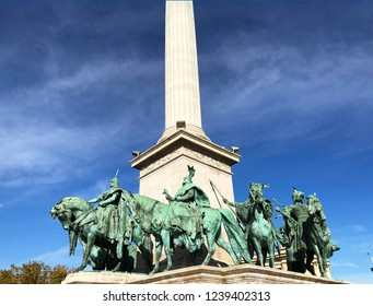 Budapest, Hungary, The Millennium Monument, Magyar chieftains at the base of the Millennium Column
