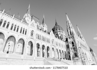 Budapest, Hungary - national Parliament building featuring Gothic revival and Renaissance revival architecture. Sunset light.