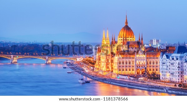 Budapest, Hungary. Night view on Parliament building over delta of Danube river.