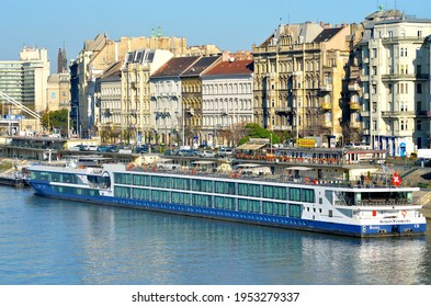 Budapest, Hungary - November 12 2013: The cruise ship Avalon Panorama is waiting for tourists
