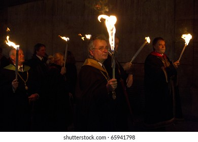 BUDAPEST, HUNGARY - NOVEMBER 12: The senate of the ELTE before the  torch-light procession, organized for the 375 anniversary of foundation of university on November 12, 2010 in Budapest, Hungary.