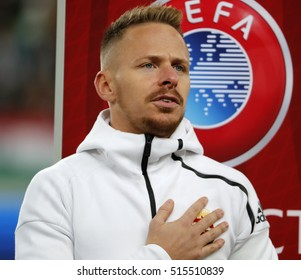 BUDAPEST, HUNGARY - NOVEMBER 13, 2016: Balazs Dzsudzsak of Hungary listens to the anthem prior to the Hungary v Andorra FIFA WC Qualifier at Groupama Arena.