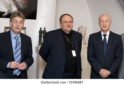 BUDAPEST, HUNGARY - NOVEMBER 17: Antal Czinder (r) Hungarian contemporary sculptor, attends the opening ceremony of his life's work exhibition in Buda Gallery on November 17, 2009 in Budapest, Hungary.