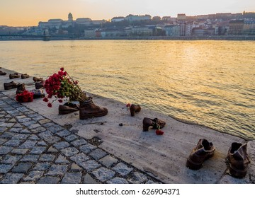 BUDAPEST, HUNGARY - NOVEMBER 20, 2016 - Shoes on the Danube bank. The memorial to honor the people, mainly Jews, who were killed by fascist Arrow Cross militiamen in Budapest during World War II.