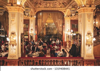 BUDAPEST / HUNGARY - NOVEMBER 2018 -The historical cafe inside the  New York Palace in Budapest