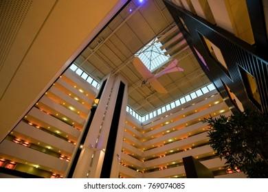 Budapest, Hungary - November 23, 2017: Interior of Sofitel Chain Bridge Hotel, a 5 star accomodation in Budapest.