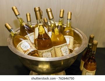 Budapest, Hungary - November 24, 2017: Bottles of Tokaji Aszu, most famous sweet wine of Hungary from Tokaj Wine region.