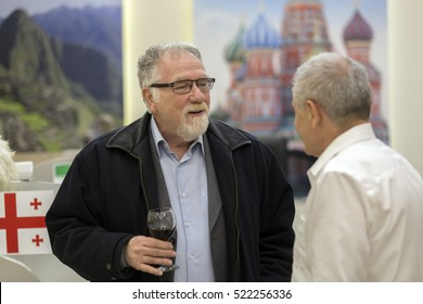 BUDAPEST, HUNGARY, NOVEMBER 24,2016: Istvan Vago, famous hungarian television presenter on the announcing ceremony of 1000Ut Travel agency.