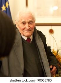 BUDAPEST, HUNGARY - NOVEMBER 25: Sándor Kányádi, famous Hungarian-language poet and translator on the Haiku Poem Gala org. by Japan foundation on the ELTE on November 25, 2011 in Budapest, Hungary.