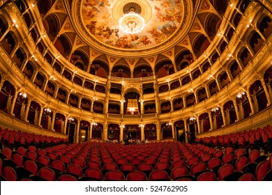 BUDAPEST, HUNGARY- NOVEMBER 27 2016: Interior of the Hungarian Royal State Opera House, considered one of the architect's masterpieces and has the third best acoustics in Europe.