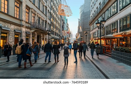 Budapest, Hungary - November 28, 2017: People visit Fashion street. Located in the heart of Budapest, Fashion Street is Middle-Eastern Europe's most prestigious shopping and lifestyle destination.