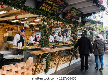 BUDAPEST, HUNGARY - NOVEMBER  28: Annual Christmas Fair on Vorosmarty square on 28 November, 2017 in Budapest, Hungary.