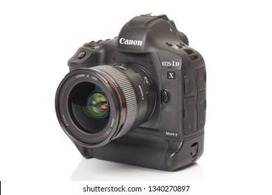 BUDAPEST, HUNGARY - NOVEMBER 30, 2017: Canon EOS 1Dx mark II, Canon's flagship DSLR, 24mm lens attached, white background