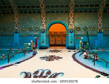 BUDAPEST, HUNGARY - NOVEMBER 4, 2017: Interior of Gellert Spa and Bath, a popular thermal bath in art Nouveau style, opened since 1918.