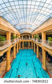 BUDAPEST, HUNGARY - NOVEMBER 4, 2017: Swimming pool interior in Gellert Spa and Bath, a popular thermal bath in art Nouveau style, opened since 1918.