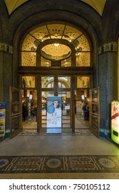 BUDAPEST, HUNGARY - NOVEMBER 4, 2017: Entrance of Gellert Spa and Bath, a popular thermal bath in art Nouveau style, opened since 1918.