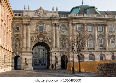 Budapest, Hungary - November 5, 2015: Budapest Royal Castle - Courtyard of the Royal Palace in Budapest. Hungary.