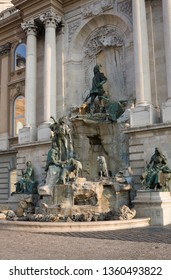 Budapest, Hungary - November 5, 2015: Fountain of King Matthias in Royal Palace (Buda Castle) in Budapest, Hungary