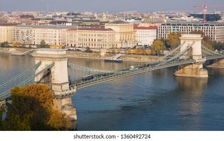 BUDAPEST, HUNGARY - NOVEMBER 6, 2015: Budapest in autumn. Chain Bridge in capital city of Hungary