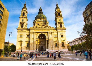 Budapest, Hungary - November, 7, 2014: Landmark of Budapest St. Stephen's Basilica in Budapest, Hungary and people near it