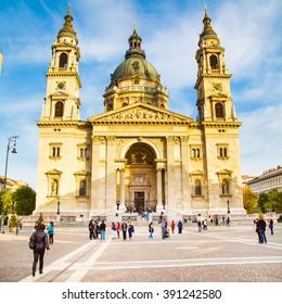 Budapest, Hungary - November 7, 2014: Landmark of Budapest St. Stephen's Basilica in Budapest, Hungary and people near it