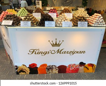 Budapest, Hungary - November 9, 2018: Christmas Market and Winter Festival at Vorösmarty Square - Stall of Kings Marzipan candies
