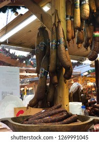 Budapest, Hungary - November 9, 2018: Christmas Market and Winter Festival at Vorösmarty Square - Tradition sausages for sale